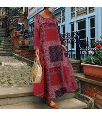 zanzea verano de las mujeres flojas ocasionales de la playa vestido señoras de kaftan maxi vestidos más el tamaño -rojo
