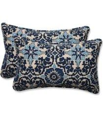 woodblock prism blue rectangular throw pillow, set of 2