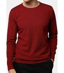 maglione girocollo in tinta unita lavorato a maglia sottile e comoda da uomo