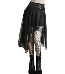 asymmetrical grommet strap chiffon gothic skirt
