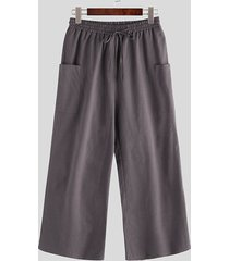 incerun pantalones casuales holgados cómodos con cordón de estilo chino para hombres