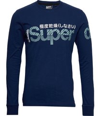 core split logo ls tee t-shirts long-sleeved blå superdry