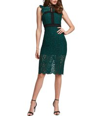 women's bardot latoya lace body-con dress, size large - green
