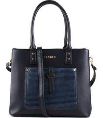 bolso femenino azul con bolsillo delantero marca cosmos