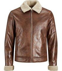 leren jas jack & jones 12173734 jjflight jacket cognac