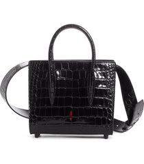 christian louboutin mini paloma croc embossed leather satchel - black