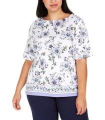 karen scott plus size rebecca floral border-print top, created for macy's
