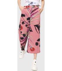 pantalón rosado-multicolor desigual