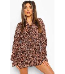luipaardprint jurk, rust