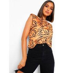 tiger print shoulder pad t-shirt, brown