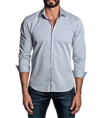 men's jared lang regular fit diamond button-up shirt, size x-large - blue