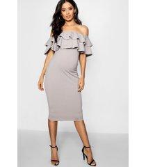 maternity ruffle off the shoulder midi dress, grey