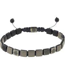 grey and black matte ceramic lock bracelet