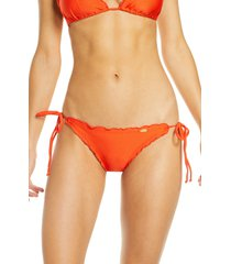 women's luli fama wavy brazilian side tie bikini bottoms, size large - red