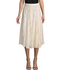lace-trim silk skirt