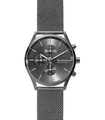 skagen men's chronograph holst gunmetal stainless steel mesh bracelet watch 42mm