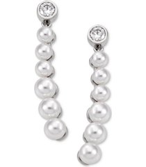 majorica sterling silver crystal & imitation pearl drop earrings