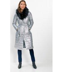 lange gewatteerde jas met metallic glans