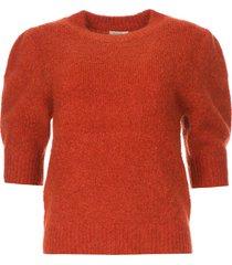gebreide trui met pofmouwen jillian  rood