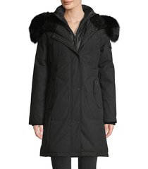 1 madison women's fox fur-trim down parka coat - army - size xs