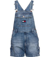 dungaree short svltr jumpsuit blauw tommy jeans