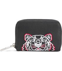 kenzo embroidered zipped coin wallet - black