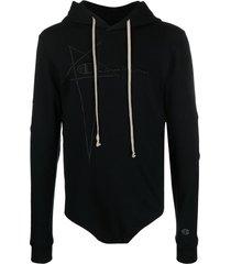 rick owens x champion embroidered-logo hooded bodysuit - black