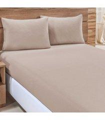 jogo de cama city caqui liso solteiro 02 peças - malha 100% algodão.