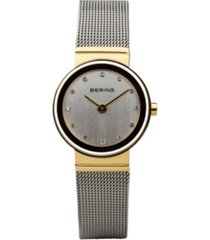 bering ladies classic two-tone stainless steel mesh watch