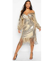 plus sequin off the shoulder wrap midi dress, gold