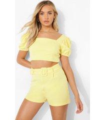 crop top met pofmouwen en shorts met ceintuur, lemon