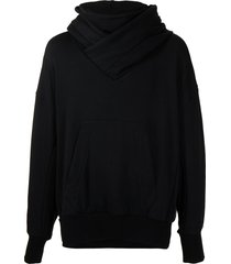 julius wraparound neck sweatshirt - black