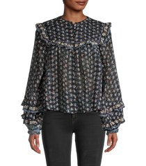 free people women's printed cotton blouse - night combo - size m