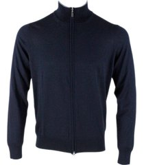 barba napoli full light long sleeve sweater with contrasting color profiles in virgin wool