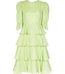 batsheva spring tiered ruffle midi dress - green