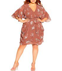 city chic floral faux wrap dress, size small in imperial floral at nordstrom