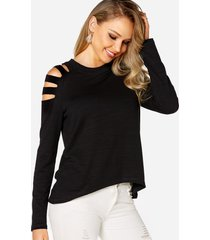 black cut out design cold shoulder long sleeves t-shirt