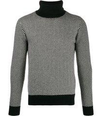 majestic filatures suéter gola alta chevron - preto