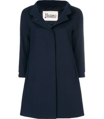 herno flared single breasted coat - blue