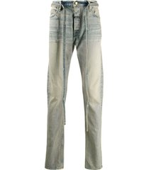 fear of god stonewashed straight-leg strings jeans - blue