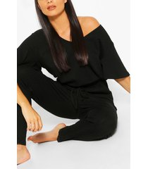 ribbed slouch tie jumpsuit, black