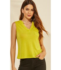 yoins yellow v-neck glitter pocket design vest