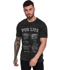 camiseta di nuevo pug life rap hip hop preta