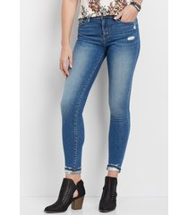 flying monkey™ womens destructed cuff hem skinny jeans blue - maurices