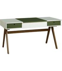 mesa escrivaninha delacroix 430 nogal/branco/verde musgo - maxima