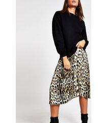 river island womens black leopard print sweatshirt slip dress