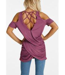 púrpura, hendidura, plisado, espalda, diseño, hombro frío, cordones, manga corta, camisetas