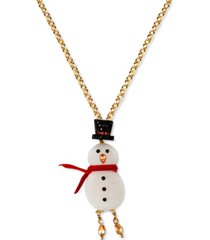 "inc gold-tone crystal snowman long pendant necklace, 32"" + 3"" extender, created for macy's"