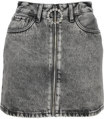 alessandra rich grey denim mini skirt