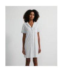 camisola americano curta estampa listras com bolsinho | lov | cinza claro | gg